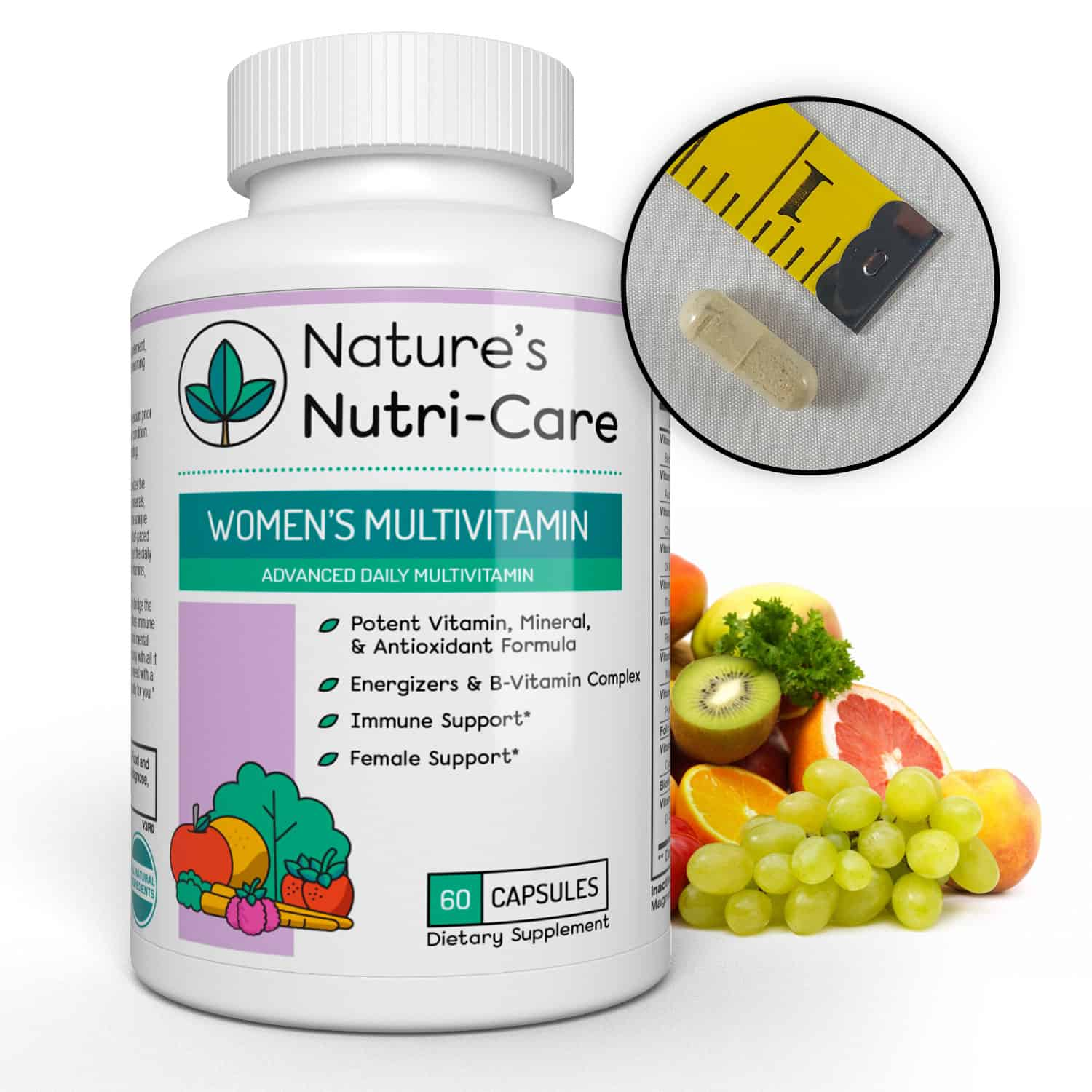 Nature's Nutri-Care Best Multivitamin for Women - 60 Capsules - Vitamins, Antioxidants, and Minerals - Complete Female Support Blend, Immune Blend, and Energy Blend - Made in USA