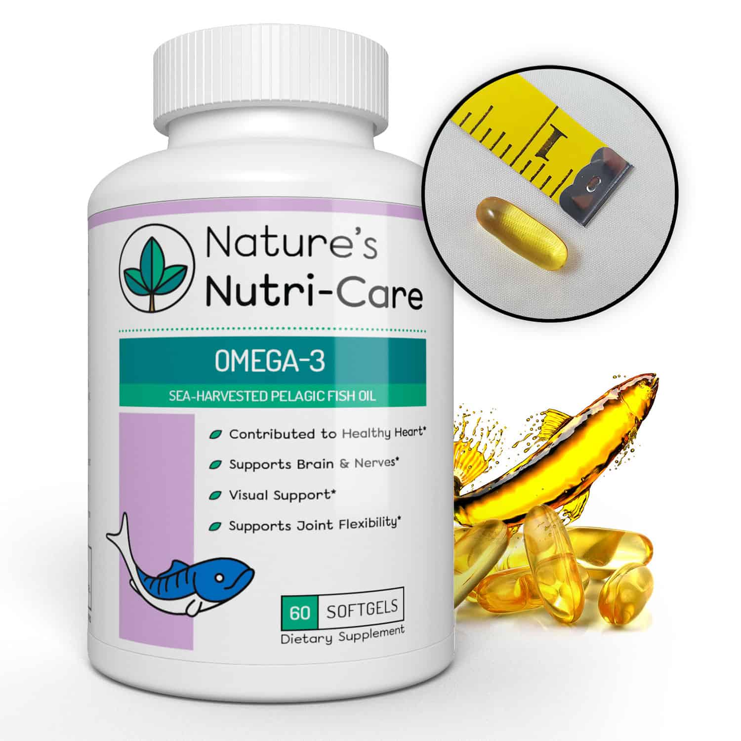 Nature's Nutri-Care Omega 3 Fish Oil - 1000 mg - 60 Softgels - Burpless Fish Oil - EPA and DHA - Sea Harvested Pelagic Fish Oil Supplement