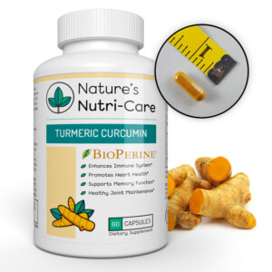 Nature's Nutri-Care Turmeric Curcumin with BioPerine - 95% Curcuminoids - 1300 mg Daily - 60 Capsules - Pure Turmeric Root