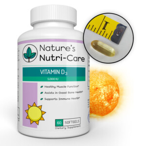 Nature's Nutri-Care Vitamin D3 Supplement - 5,000 IU - 60 Softgels - Healthy Muscle and Good Bone Health