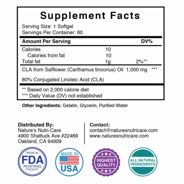 Nature's Nutri-Care CLA Safflower Oil Supplement - 1000 mg - 60 Softgels - Weight Loss and Muscle Growth Supplement - Conjugated Linoleic Acid- Made in USA