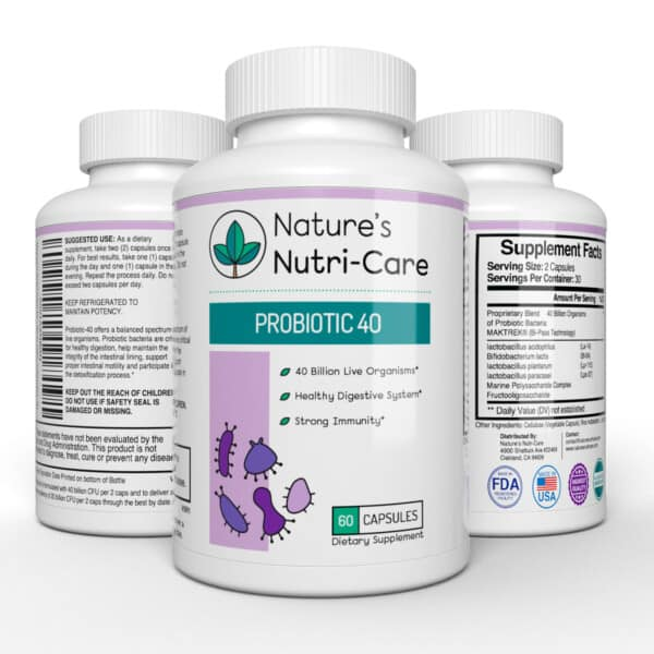 Nature's Nutri-Care Probiotic Supplement - 40 Billion Live Cultures - 60 Capsules - Acidophilus, Bifido Lactis, Plantarum, and Paracasei Organisms - MAKTREK Bi-Pass - Digestive and Immune Health