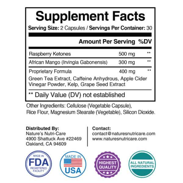 Nature's Nutri-Care Raspberry Ketones Weight Loss - 500 mg - 60 Capsules - Metabolism Booster Supplement