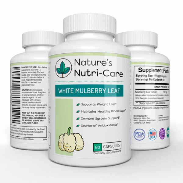 Nature's Nutri-Care Pure White Mulberry Leaf Extract - 500 mg - 60 Capsules - Weight Loss and Immune System Supplement - Made in USA Supplement Facts