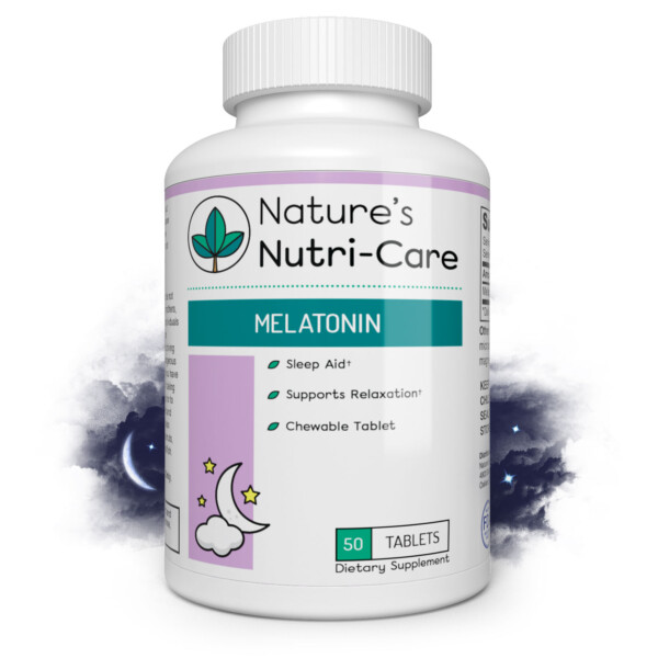 Nature's Nutri-Care Melatonin Chewable Sleep Aid - 3mg - 50 Tablets - Improve Sleep Quality and Jet Lag - Made in USA